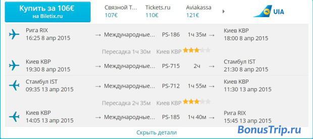 Из Риги в Турцию за 113$