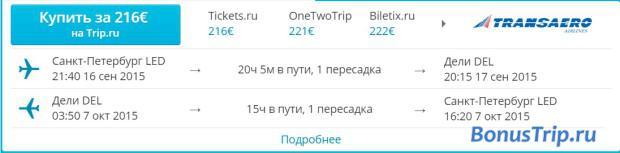 СПБ-Дели 216 евро