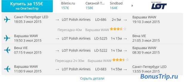 Санкт-Петербург  - Вена 155 евро