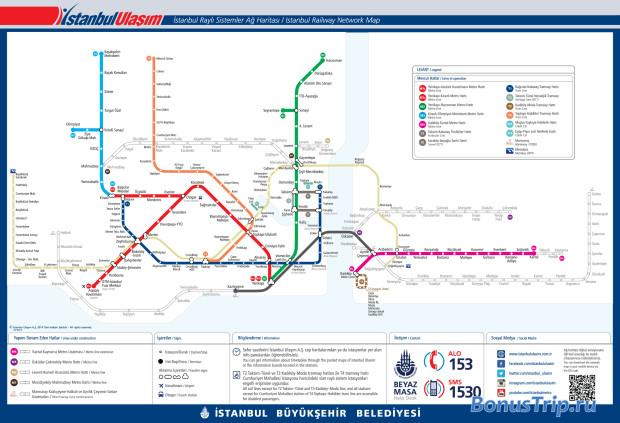 Официальная карта транспорта Стамбула. Кликните для увеличения