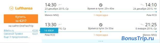 Минск-Рим Новый год